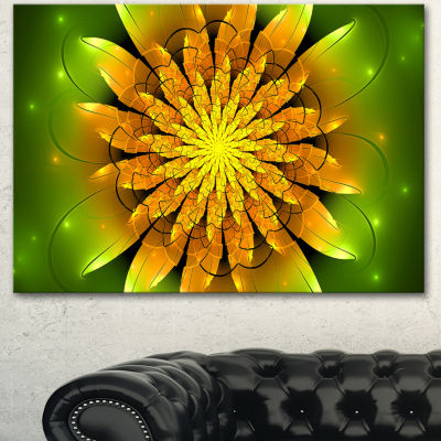 Designart Bright Yellow Fractal Flower On Green Floral Canvas Art Print  3 Panels