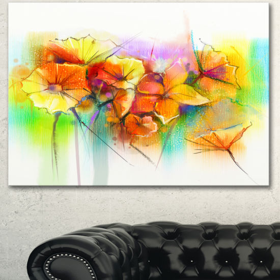 Designart Bright Yellow Gerbera And Daisies LargeFloral Canvas Art Print