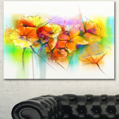Designart Bright Yellow Gerbera And Daisies LargeFloral Canvas Art Print 3 Panels