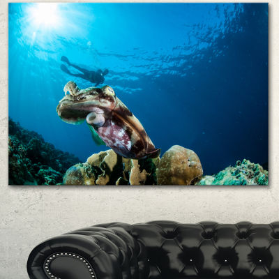 Design Art Broadclub Cuttlefish Underwater Large Seashore Canvas Art Print 3 Panels