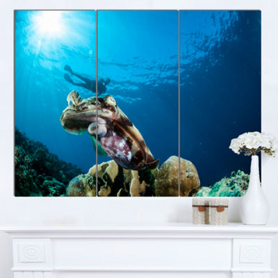 Designart Broadclub Cuttlefish Underwater Large Seashore Canvas Art Print 3 Panels
