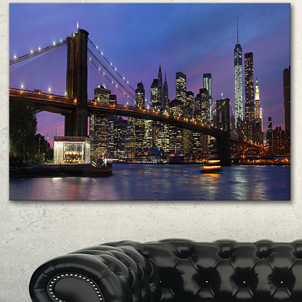 Designart Brooklyn Bridge And Manhattan At SunsetExtra Large Canvas Art Print