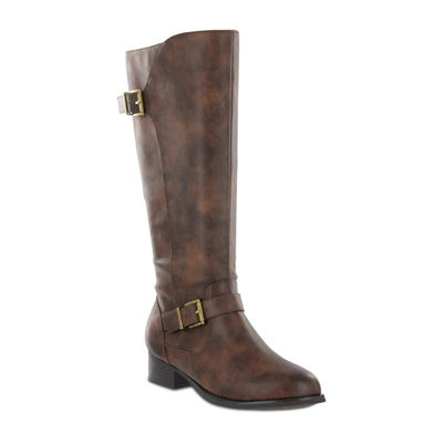 Mia Amore Lolaa Womens Block Heel Zip Wide Riding Boots
