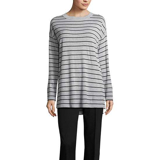 Worthington Long Sleeve Step Hem Crew Neck Sweater - Tall