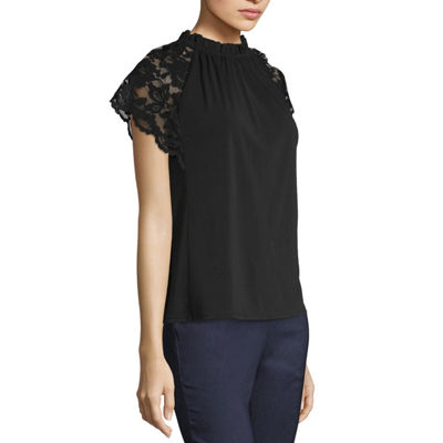 Worthington Lace Flutter Sleeve Top - Tall