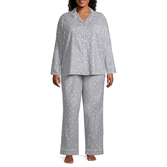 aee70a95b8 Liz Claiborne Notch Collar Flannel Pant Pajama Set-Plus - JCPenney