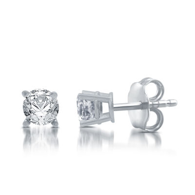 5/8 CT. T.W. Genuine White Diamond 10K White Gold Stud Earrings