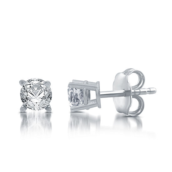 57324cad2 5/8 CT. T.W. Genuine White Diamond 10K White Gold Stud Earrings ...