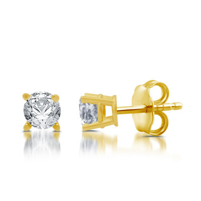 5/8 CT. T.W. Genuine White Diamond 10K Gold 4.1mm Stud Earrings