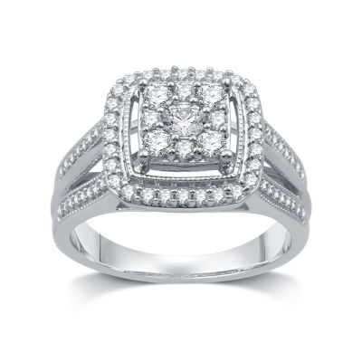 I Said Yes Womens 3/4 CT. T.W. Genuine White Diamond Platinaire Engagement Ring