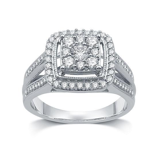I Said Yes I Said Yes Womens 3/4 CT. T.W. Genuine White Diamond Platinaire Engagement Ring
