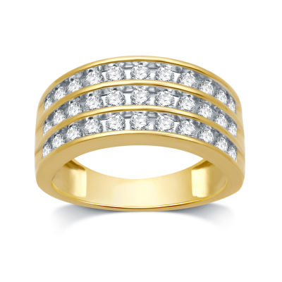 Womens 2mm 1 CT. T.W. Genuine White Diamond 10K Gold Anniversary Band