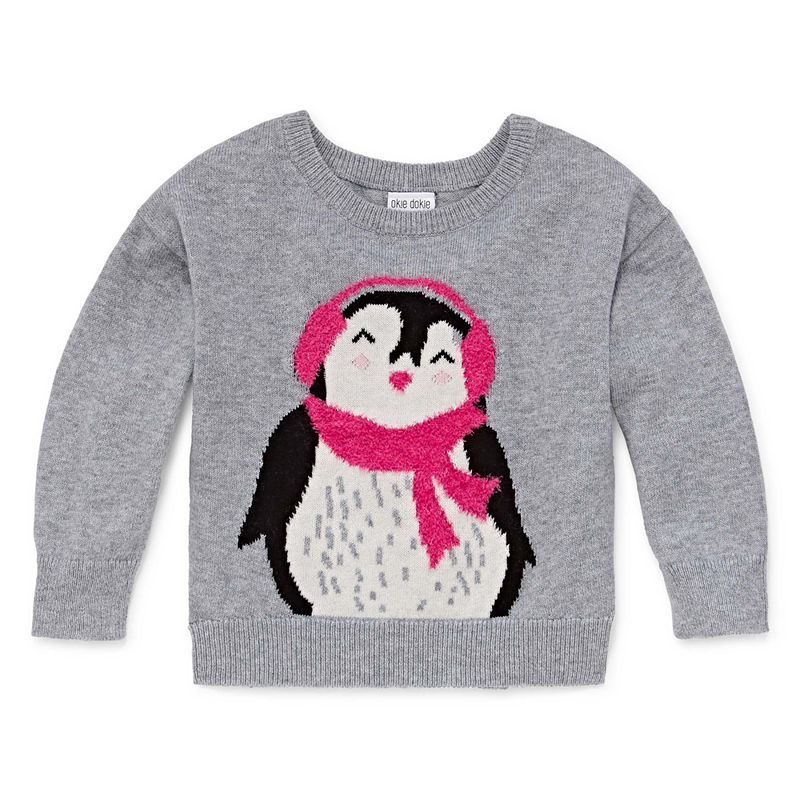 Okie Dokie Penguin Long Sleeve Pullover Sweater – Baby Girl 3M-24M