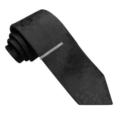 JF J.Ferrar Jf Black Skinny Spinner Floral Tie