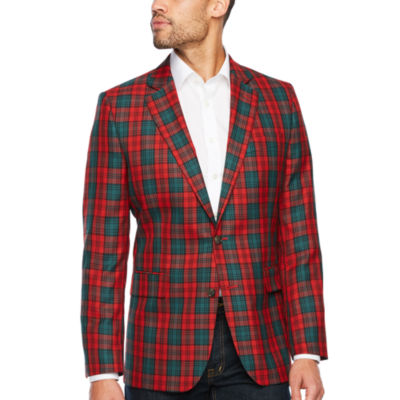 Stafford Tartan Red Green Classic Fit Sport Coat