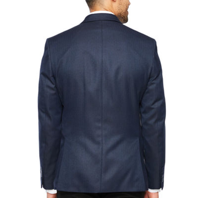 Collection by Michael Strahan Blue Herringbone Classic Fit Sport Coat