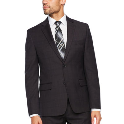 Collection by Michael Strahan Burgundy Plaid Slim Fit Stretch Suit Jacket