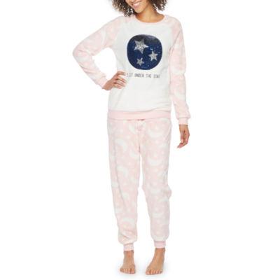 Peace Love And Dreams Reversible Sequins Plush Pant Pajama Set