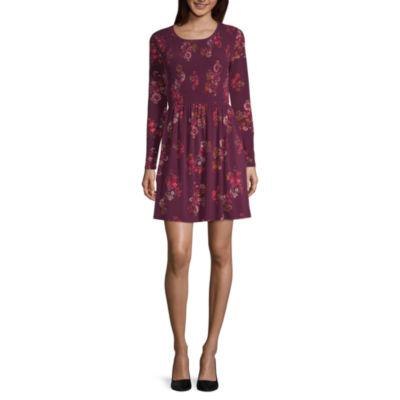 Wallflower Long Sleeve Floral Fit & Flare Dress-Juniors