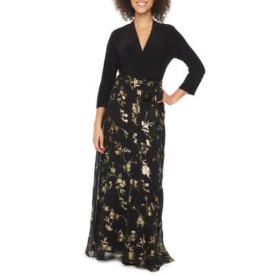 Be by CHETTA B 3/4 Sleeve Foil Floral Maxi Dress