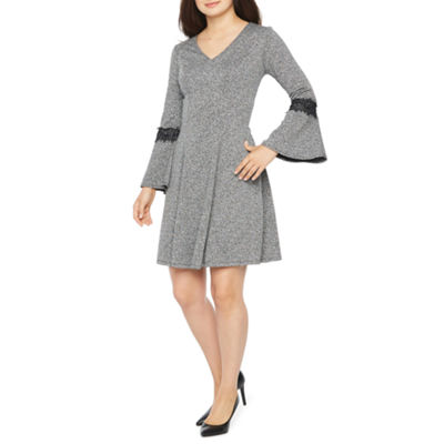 Robbie Bee Long Sleeve Fit & Flare Dress