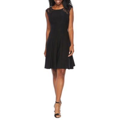 Danny & Nicole Sleeveless Lace Shoulder Fit & Flare Dress
