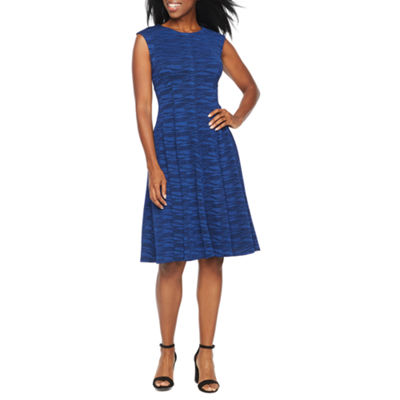 Danny & Nicole Sleeveless Waves Fit & Flare Dress