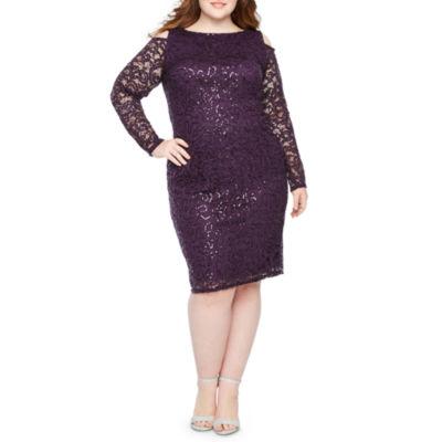 Blu Sage Long Sleeve Lace Sheath Dress - Plus
