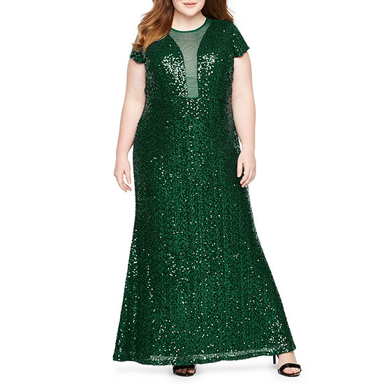 Blu Sage Short Sleeve Plunge Sequin Gown - Plus