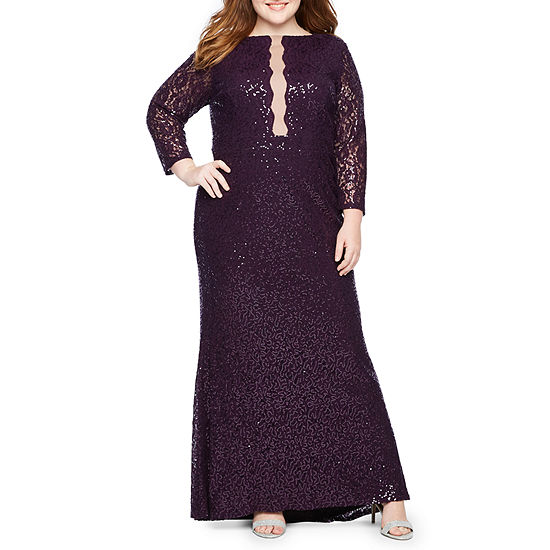 Blu Sage 3/4 Sleeve Lace Illusion Sequin Gown - Plus