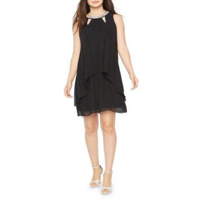 S. L. Fashions Sleeveless Beaded Shift Dress
