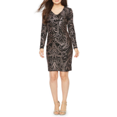 Blu Sage Long Sleeve Scroll Print Shift Dress