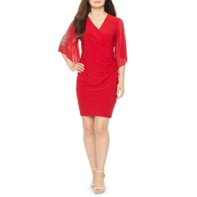 MSK 3/4 Sleeve Beaded Sheath Dress