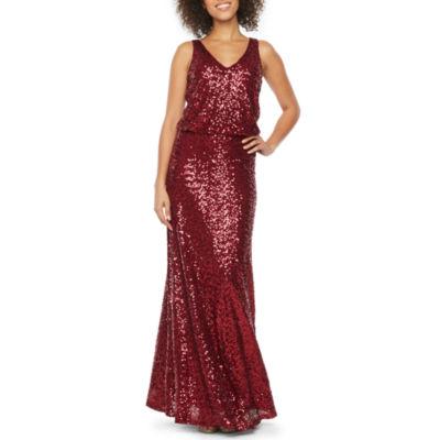 Blu Sage Sleeveless Sequin Evening Gown