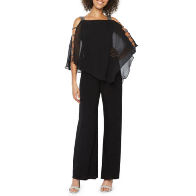 MSK 3/4 Sleeve Embellished Cape Jumpsuit