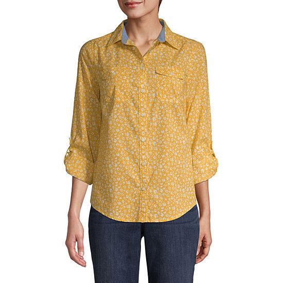 St. John's Bay Classic Shirt Womens Long Sleeve Regular Fit Button-Front Shirt
