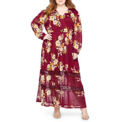 Boutique + Long Sleeve Floral Maxi Dress - Plus