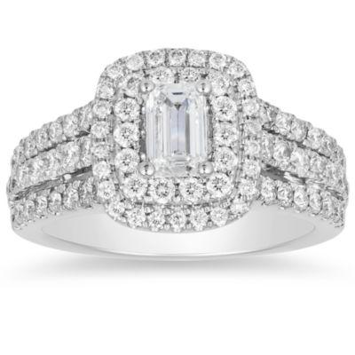 Womens 1 3/4 CT. T.W. White Diamond 14K White Gold Engagement Ring
