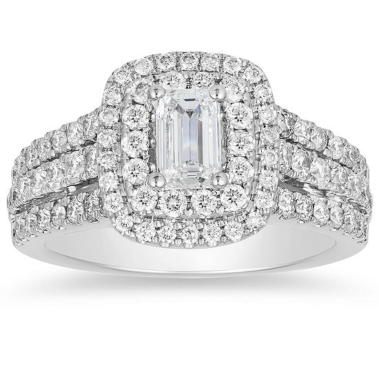 Womens 1 3/4 CT. T.W. Genuine White Diamond 14K White Gold Engagement Ring