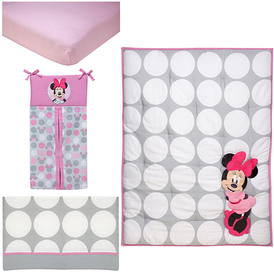 Disney Minnie Polkadots 4-Pc. Set 4-pc. Crib Bedding Set