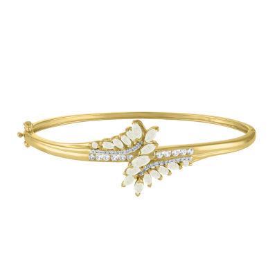 Lab Created Multi Color Opal 14K Gold Over Silver Bangle Bracelet