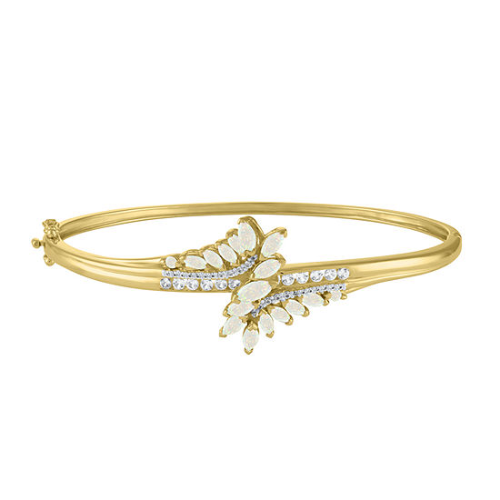 Lab Created White Opal 14K Gold Over Silver Bangle Bracelet