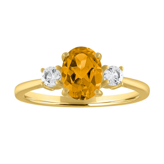 Womens Genuine Yellow Citrine 10K Gold Cocktail Ring