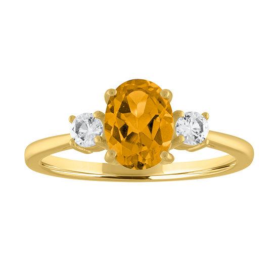 Womens Genuine Yellow Citrine 10K Gold Cocktail Ring