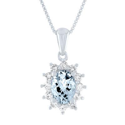 Womens Genuine Blue Aquamarine 10K White Gold Pendant Necklace