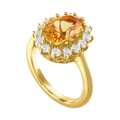Womens Genuines Yellow Citrine 14K Gold Over Silver Cocktail Ring