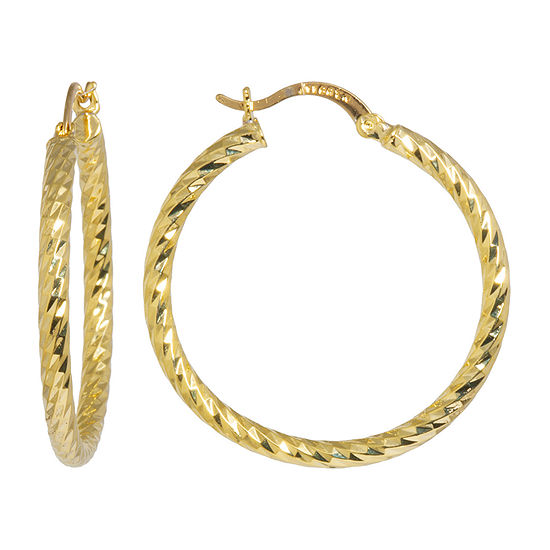 Silver Reflections 24K Gold Over Brass 40mm Twisted Hoop Earrings