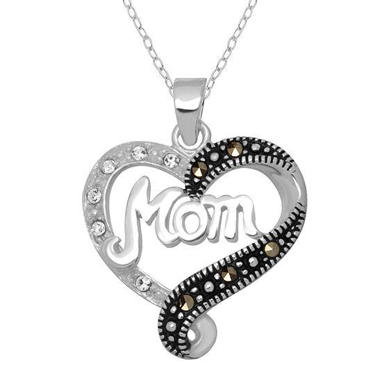 Sparkle Allure Made With Swarovski Marcasite Womens Genuine Multi Color Pure Silver Over Brass Heart Pendant Necklace