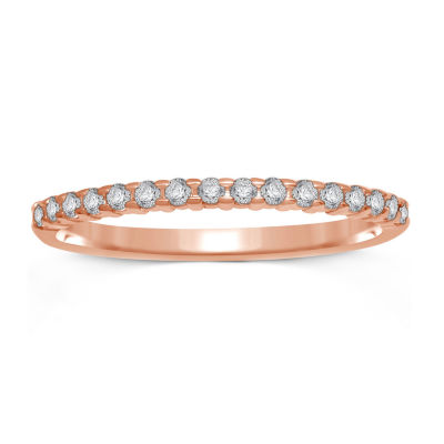 1/7 CT. T.W. Genuine Diamond 10K Rose Gold Band Ring