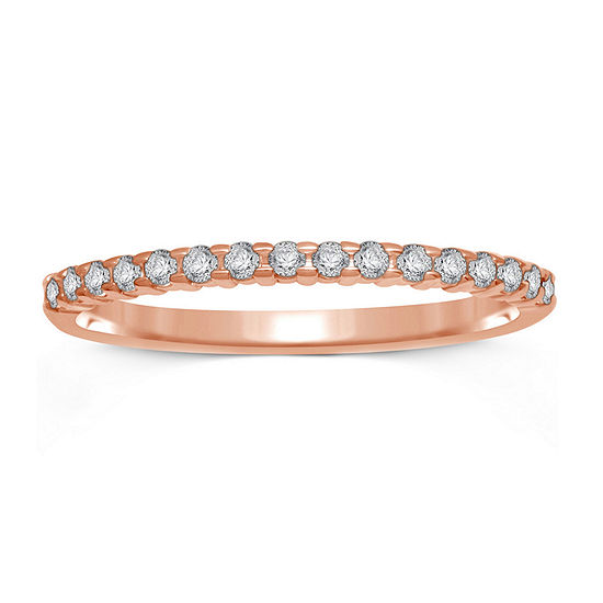 1/7 CT. T.W. Genuine Diamond 10K Rose Gold Band Ring